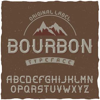 Carattere tipografico vintage denominato bourbon