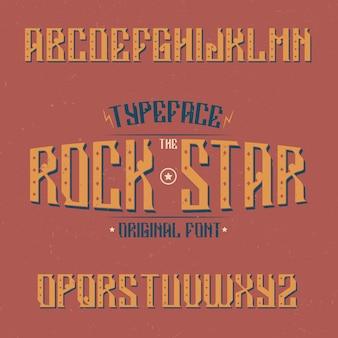 Rock star라는 이름의 빈티지 서체. 모든 빈티지 로고에 사용하기에 좋은 글꼴입니다.