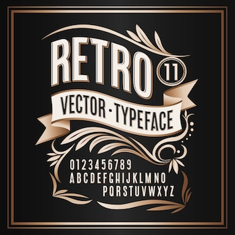 Vintage typeface retro golden badge on dark background
