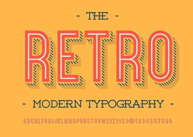 Винтажный шрифт модная типография без засечек цветной стиль для вечеринки