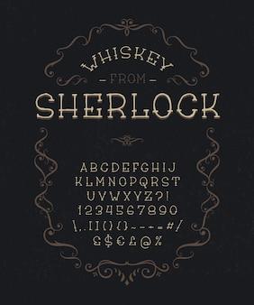 Винтажный шрифт с декоративной рамкой