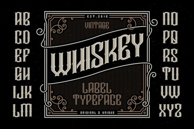 Vintage typeface with decorative label