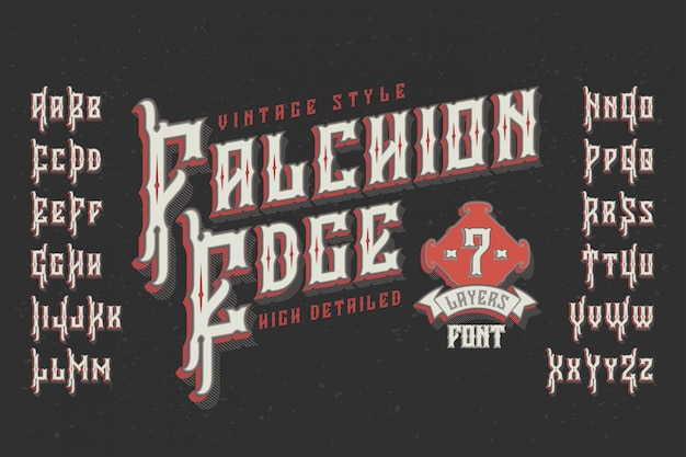 Vintage typeface with extruded effect