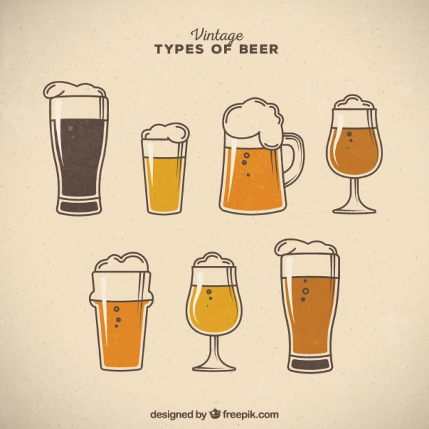 Vintage types of beer with foam