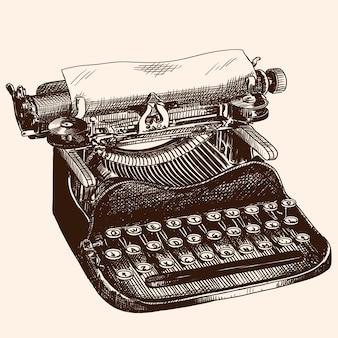 Винтажная пишущая машинка для набора текста с бумагой, изолированной на бежевом фоне