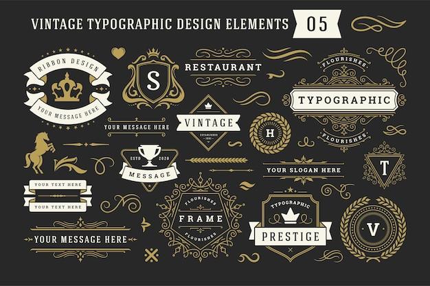 Винтажные типографские декоративные элементы дизайна орнамента устанавливают иллюстрацию