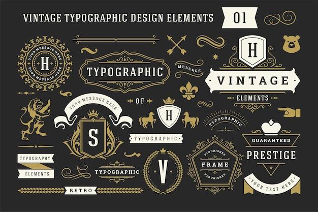 빈티지 인쇄상의 장식 장식 디자인 요소 그림 설정