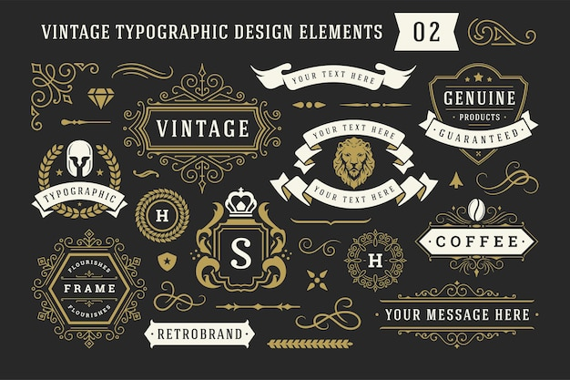 Элементы дизайна старинных типографских декоративный орнамент набор векторные иллюстрации