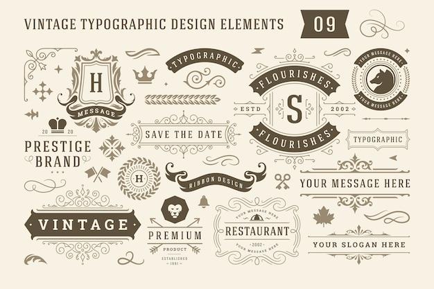 Винтажные типографские элементы дизайна набор этикеток и значков