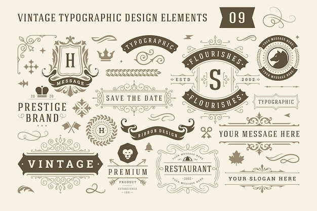 Vintage typographic design elements set labels and badges