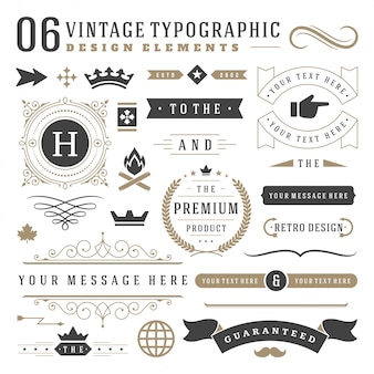 Vintage typographic design elements set