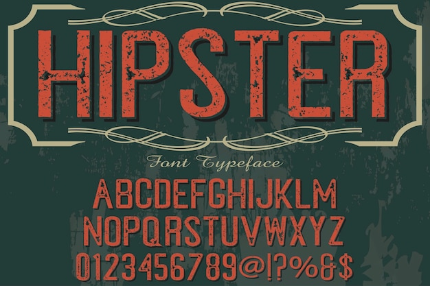 Vintage typography alphabetical graphic style hipster