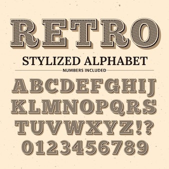 Vintage typography font. decorative retro alphabet. old western style letters and numbers.