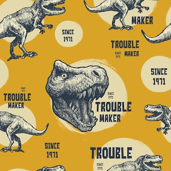 Vintage typography graphics with trex.   seamless pattern