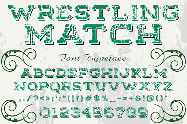 Vintage typography label design wrestling match