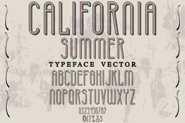 Vintage typography typeface label design california summer