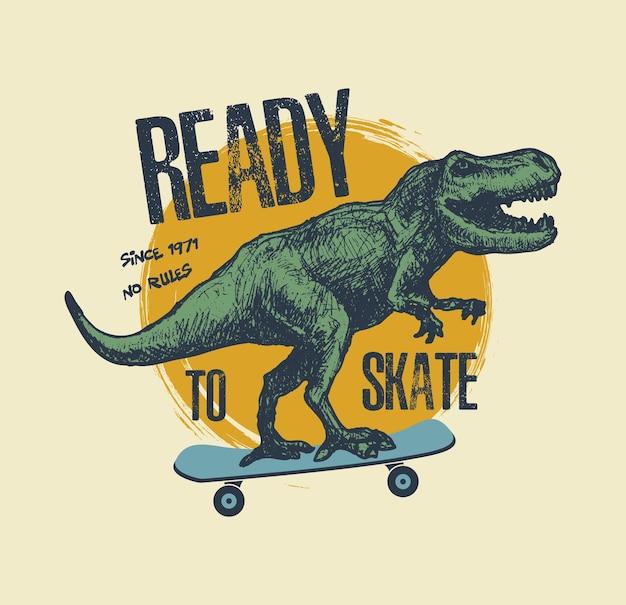 Винтажная типография с катанием на коньках динозавра