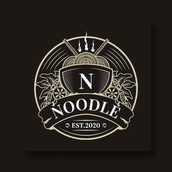 Vintage and unique noodle circle logo template