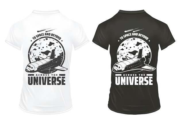Винтажный шаблон исследования вселенной с надписью космический шаттл, падающие метеоры и планета на изолированных рубашках