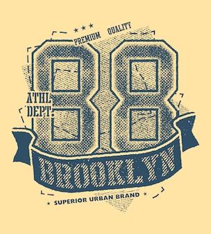 Vintage urban brooklyn typography vector illustration.