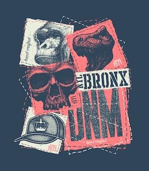 빈티지 도시 타이포그래피, 티셔츠 그래픽, 컴포지션 일러스트레이션