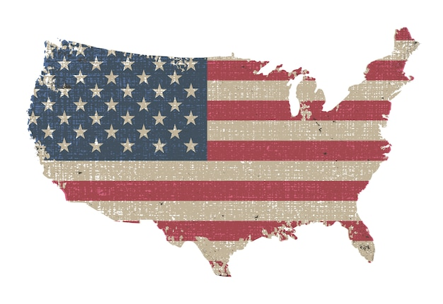フラグとビンテージアメリカ地図