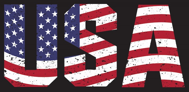 Vintage usa text with flag