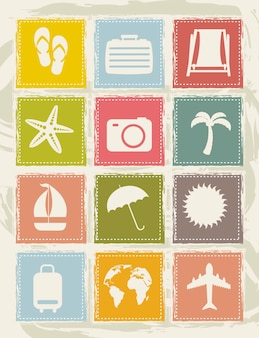 Vintage vacation  icons over grunge background vector