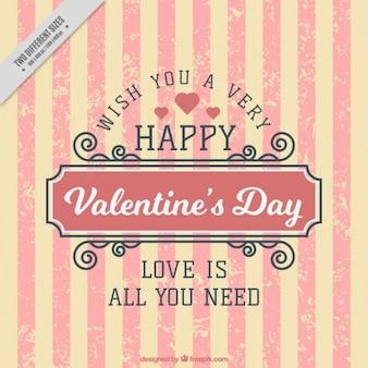 Vintage valentine background with stripes