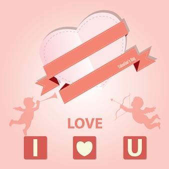 Vintage valentine card and i love you