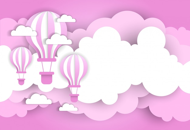 Vintage valentine day background with pink air balloons over cartoon clouds
