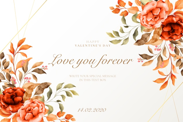 Vintage valentine's day background with beautiful nature