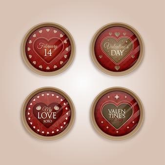 Collezione di badge vintage di san valentino