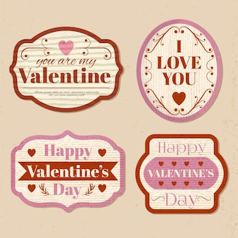 Vintage valentine's day badge collection