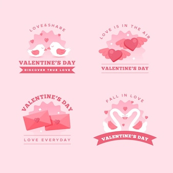 Vintage valentine's day badges collection