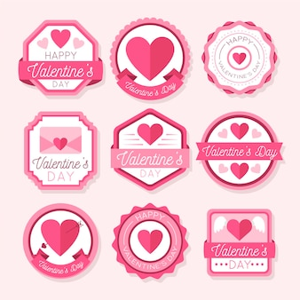 Vintage valentine's day badges pack