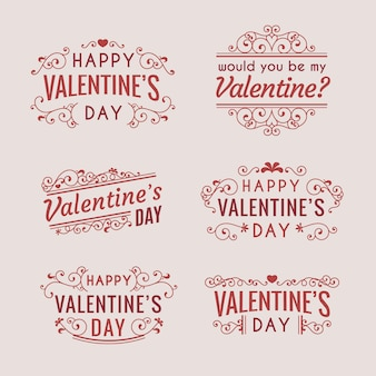 Vintage valentine's day badges set