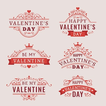 Vintage valentine's day badges