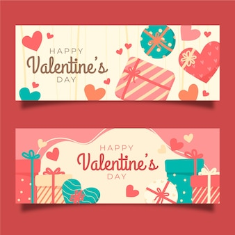 Vintage valentine's day banners