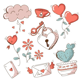 Vintage valentine's day element pack