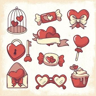 빈티지 발렌타인 요소 선택