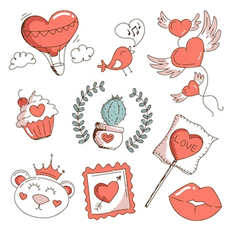 Vintage valentine's day element set