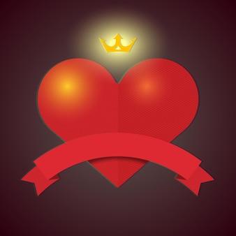 심장, 왕관과 리본 빈티지 발렌타인 hipster 카드
