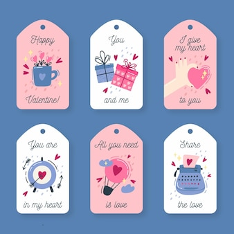 Vintage valentine's day labels pack
