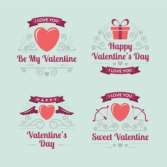 Vintage valentine's day labels set