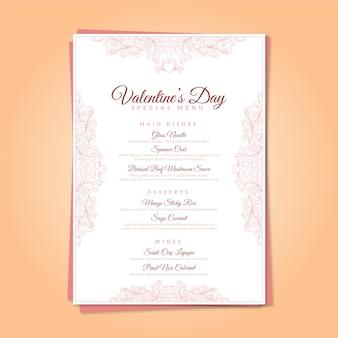 Vintage valentine's day menu template