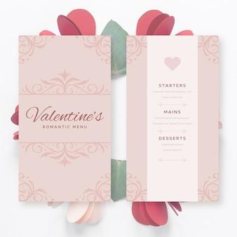 Modello di menu vintage di san valentino