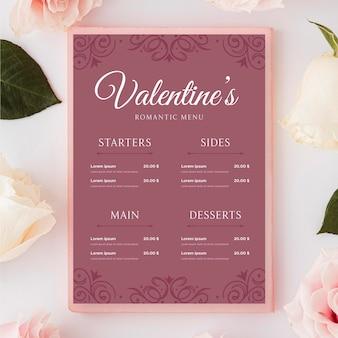 Винтажное меню на день святого валентина