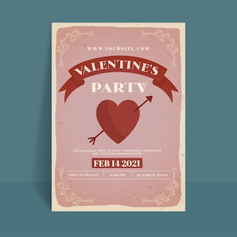Vintage valentine's day party poster template
