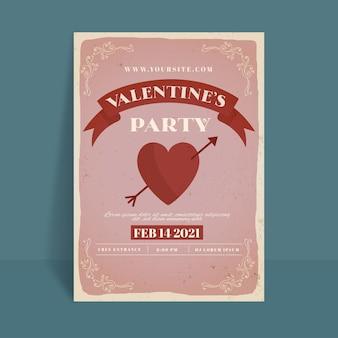 Шаблон плаката для вечеринки на день святого валентина